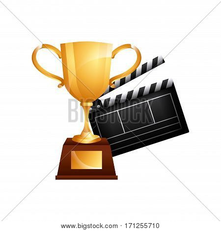golden trophhy and Clapboard icon over white background. colorful design. vector illustration