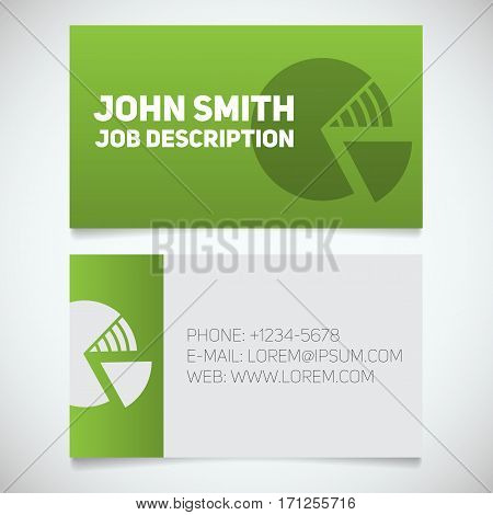 Business card print template with diagram logo. Easy edit. Marketer. Financial analyst. Stationery design concept. Vector illustration