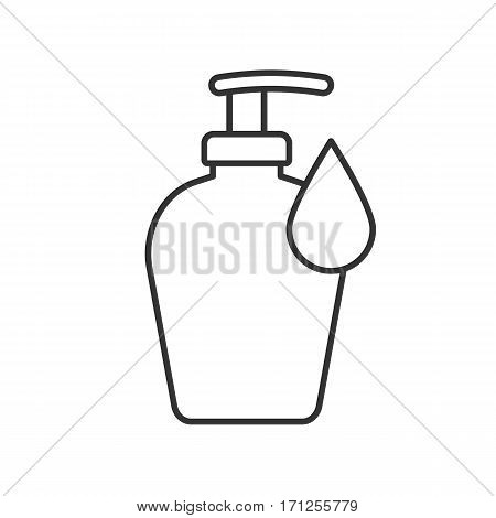 Liquid soap bottle linear icon. Thin line illustration. Shower gel contour symbol. Vector isolated outline drawing