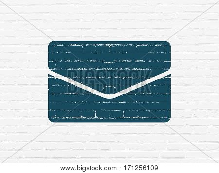 Finance concept: Painted blue Email icon on White Brick wall background
