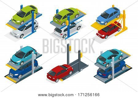 Isometric Hydraulic lifts for the car in the underground parking. Flat vector Multi-level parking