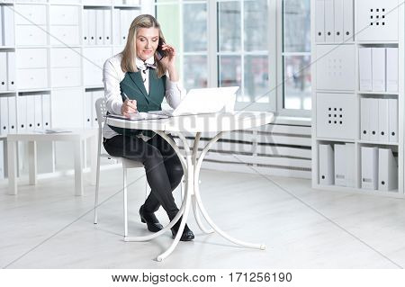 Portrait of a mature business woman working at office