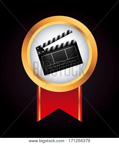 medal with Clapboard icon over black background. colorful design. vector illustration