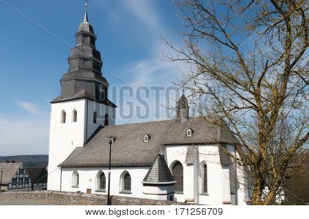 Old church in small town in Germany.