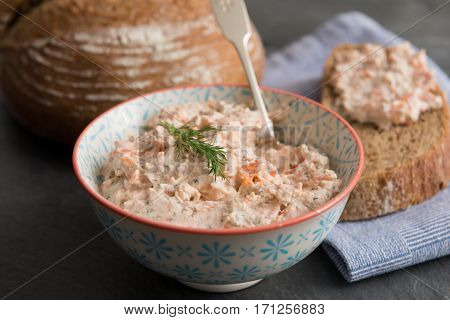 Bowl Of Fish Pate Beside Bread
