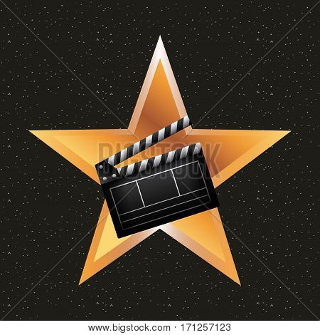 golden star with clapboard icon over black background. colorful design. vector illustration
