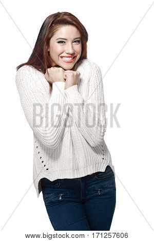 portrait of young happy woman posing in photostudio isolated on white