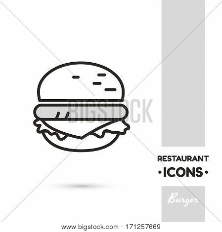 Monochrome linear icon. Stylized burger. One image of series Restaurant icons. Vector illustration. Can be used for applications and websites