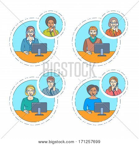 Call center agents team talking on the phone with customers. Flat thin line vector banners. Customer care operators. Online technical support service assistants with headphones. Modern outline style