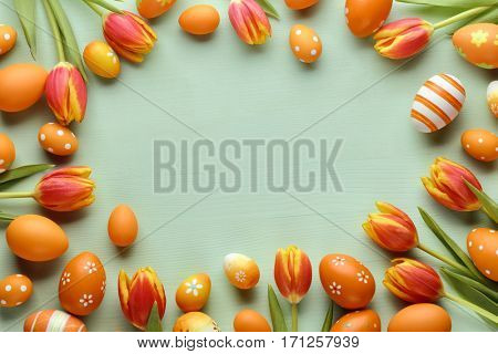 Easter eggs with tulip flower