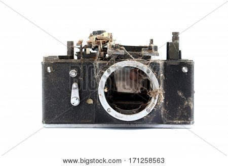 Old Dirty Nd Dusty Vintage Camera On White Background