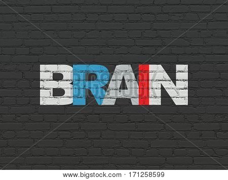 Medicine concept: Painted multicolor text Brain on Black Brick wall background