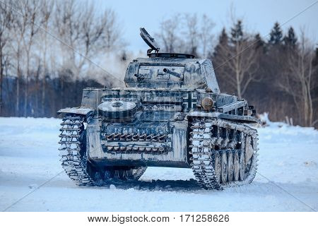 Winter view of the german WWII tank (panzer) Pz. II. Reconstruction of the winter defensive battles of the Red Army in WWII (1944 year).