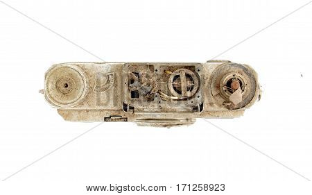 image of an Old dirty nd dusty vintage camera on white background