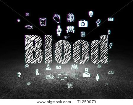 Healthcare concept: Glowing text Blood,  Hand Drawn Medicine Icons in grunge dark room with Dirty Floor, black background