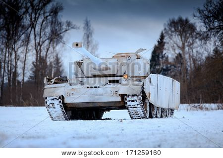 Winter view of the german WWII tank (panzer) Pz. IV. Reconstruction of the winter defensive battles of the Red Army in WWII (1944 year).