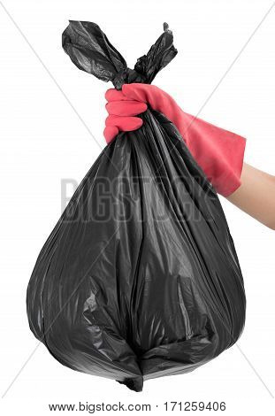 woman hand with red glove holding full Garbage bag Isolated on white background.