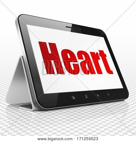 Healthcare concept: Tablet Computer with red text Heart on display, 3D rendering