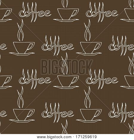 Coffee pattern. Hand drawn seamless texture with coffee cups and lettering. Can be used for wallpaper wrapping textile design etc. Vector eps8 illustration.
