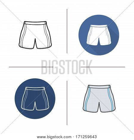 Shorts icon. Flat design, linear and color styles. Swimming trunks. Isolated vector illustrations
