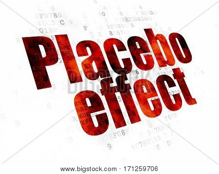 Health concept: Pixelated red text Placebo Effect on Digital background