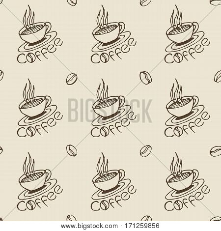 Coffee pattern. Hand drawn seamless texture with coffee cups beans and lettering. Can be used for wallpaper wrapping textile design etc. Vector eps8 illustration.