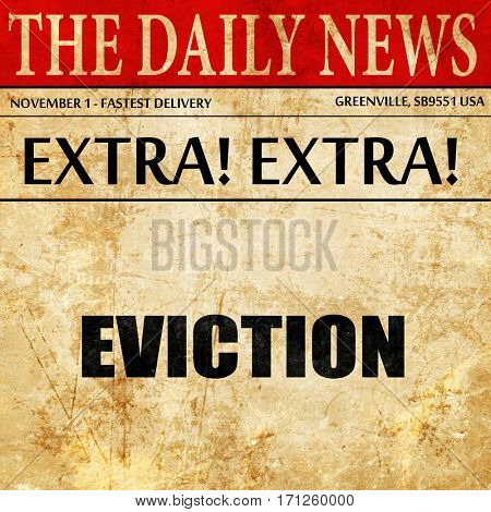eviction, article text in newspaper