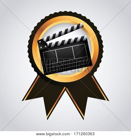 medal with Clapboard icon over white background. colorful design. vector illustration