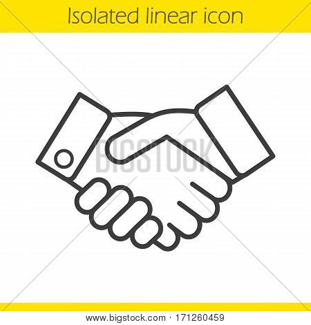 Handshake linear icon. Partnership thin line illustration. Business agreement contour symbol. Vector isolated outline drawing