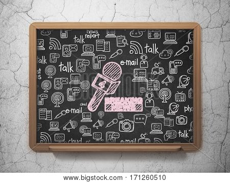 News concept: Chalk Pink Breaking News And Microphone icon on School board background with  Hand Drawn News Icons, 3D Rendering