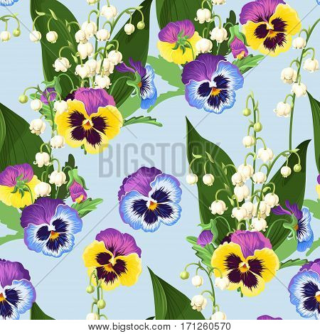 Lily of the valley and pansy vector seamless background