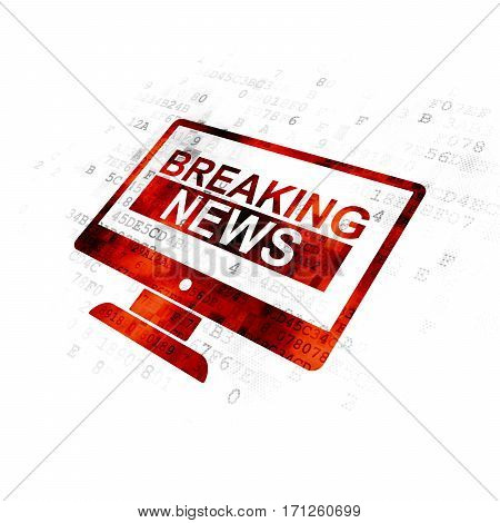 News concept: Pixelated red Breaking News On Screen icon on Digital background