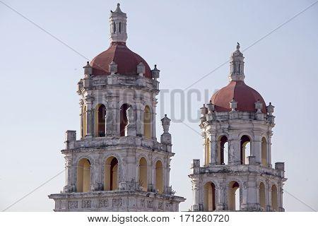Towers of the Espiritu Santo church in Puebla Mexico