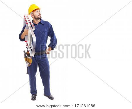 Worker holding a aluminum stepladder and looking at copy space, isolated on white background