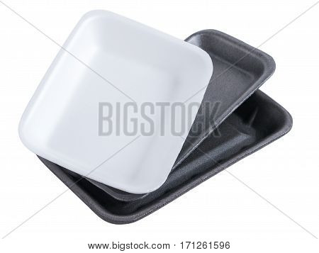 Set of two black and one white empty food tray. Collection disposable styrofoam isolated on white background