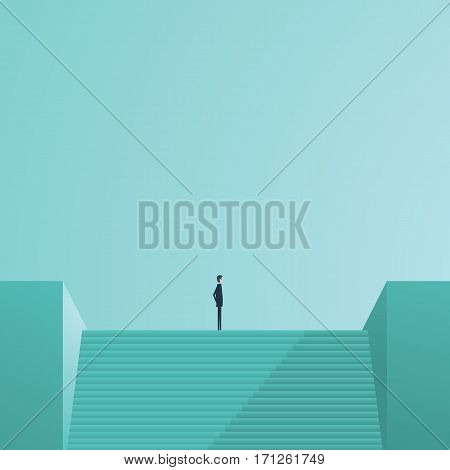 Businessman standing on top of stairs as a symbol of business leadership, career success, ambition and achievement. Eps10 vector illustration.