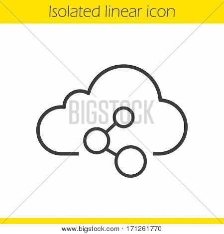 Cloud computing linear icon. Thin line illustration. Cloud storage network connection. Web hosting concept contour symbol. Vector isolated outline drawing