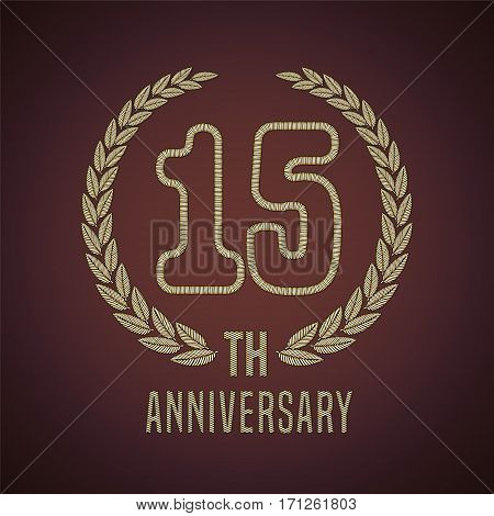 15 years anniversary vector icon, logo. Graphic design element with golden decorative branch for 15th anniversary card