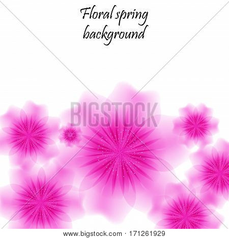 Pink spring background with translucent flowers. Vector illustration. Eps 10.