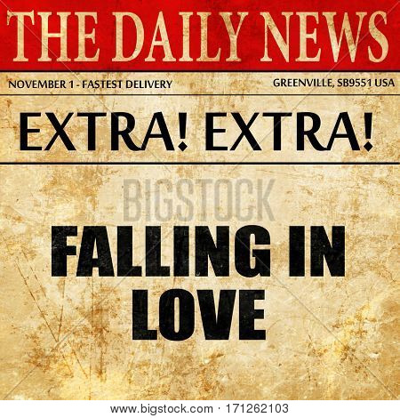 falling in love, article text in newspaper