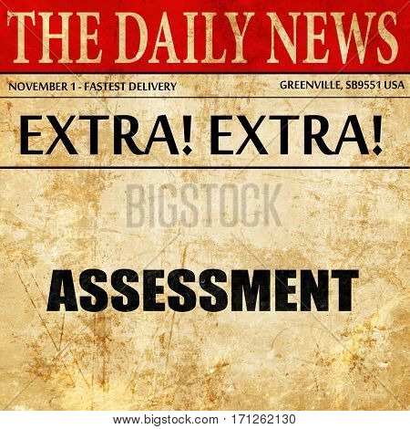 assessment, article text in newspaper