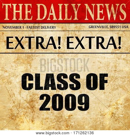 class of 2009, article text in newspaper