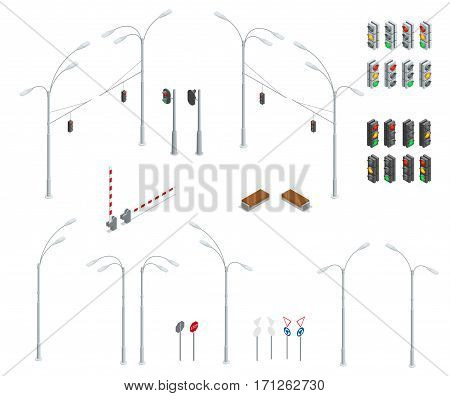 Flat 3d isometric high quality city street urban objects icon set. Traffic light, street lights, stop road, bench. Infographic collection