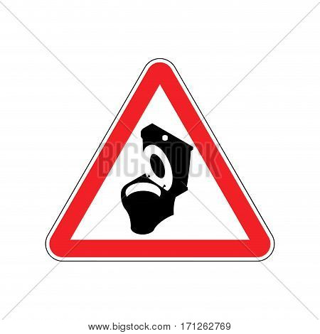 Warning Wc. Toilet Bowl On Red Triangle. Road Sign Attention