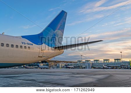 Boeing 737 Pobeda airlines, airport Pulkovo, Russia Saint-Petersburg 01 December 2016