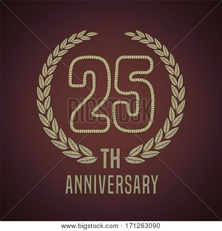 25 years anniversary vector icon, logo. Graphic design element with golden decorative branch for 25th anniversary card