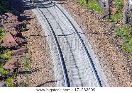Railroad rails sleepers track train road trip rocks