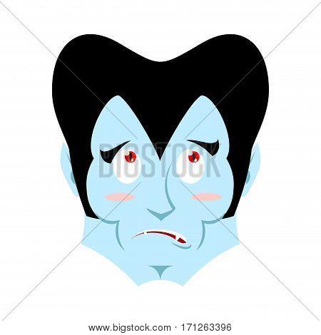 Dracula Surprised Emoji. Vampire Astonished Emotion Face Isolated