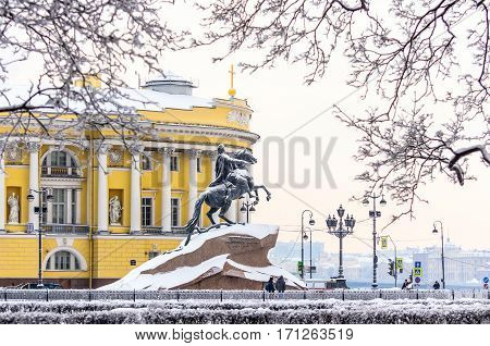 Snowy Monument to Peter the Great, Catherine II