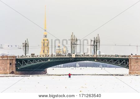 Russia, Saint Petersburg Night view of Palace Bridge drawbridge, and the Peter and Paul Fortress